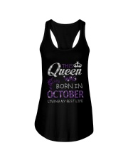 This Queen Was Born In October Ladies Flowy Tank thumbnail