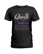 This Queen Was Born In October Ladies T-Shirt thumbnail
