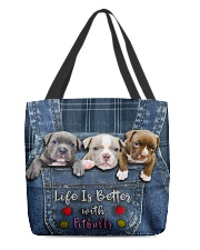 Pitbull Life Is Better Tote Bag  All-over Tote back