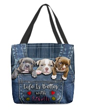 Pitbull Life Is Better Tote Bag  All-over Tote front