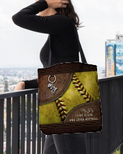 Softball Letaher Pattern TOte Bag All-over Tote aos-all-over-tote-lifestyle-front-05