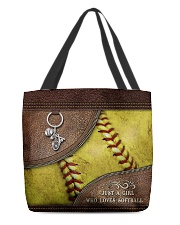 Softball Letaher Pattern TOte Bag All-over Tote back