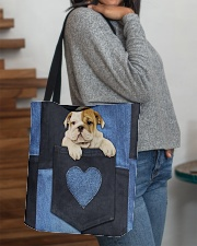 English Bulldog - Love Denim Pocket All-over Tote aos-all-over-tote-lifestyle-front-09