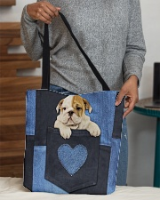 English Bulldog - Love Denim Pocket All-over Tote aos-all-over-tote-lifestyle-front-10