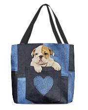 English Bulldog - Love Denim Pocket All-over Tote back