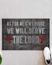 """Jesus Me My House Serve The Lord Doormat 22.5"""" x 15""""  aos-doormat-22-5x15-lifestyle-front-06"""