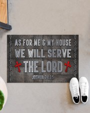 """Jesus Me My House Serve The Lord Doormat 22.5"""" x 15""""  aos-doormat-22-5x15-lifestyle-front-07"""