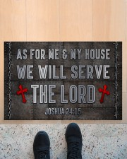 """Jesus Me My House Serve The Lord Doormat 22.5"""" x 15""""  aos-doormat-22-5x15-lifestyle-front-10"""