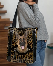 German Shepherd - Leopard - Zip Pocket All-over Tote aos-all-over-tote-lifestyle-front-09