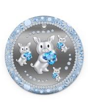 Blue Pig Circle ornament - single (porcelain) front