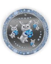 Blue Pig Circle ornament - single (wood) thumbnail