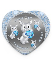Blue Pig Heart ornament - single (porcelain) thumbnail