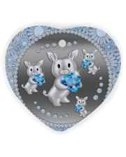 Blue Pig Heart ornament - single (wood) thumbnail