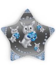 Blue Pig Star ornament - single (wood) thumbnail