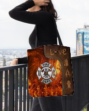 Firefighter Silver Love Tote All-over Tote aos-all-over-tote-lifestyle-front-05