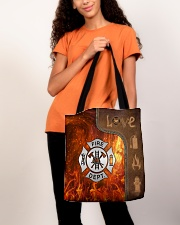 Firefighter Silver Love Tote All-over Tote aos-all-over-tote-lifestyle-front-06