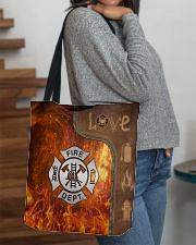 Firefighter Silver Love Tote All-over Tote aos-all-over-tote-lifestyle-front-09
