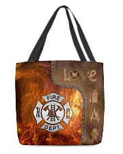 Firefighter Silver Love Tote All-over Tote front