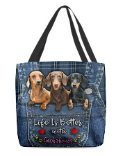 Dachshund Life Is Better All-over Tote front