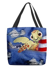 Turtle Denim Style All-over Tote front