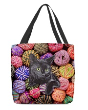 Black Cat wool Rolls All-over Tote back