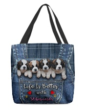 St Bernard Life Is Better All-over Tote front