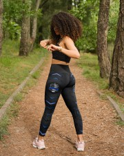 Police Blue Pattern Legging High Waist Leggings aos-high-waist-leggings-lifestyle-17