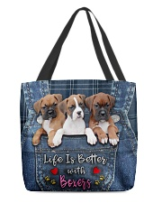 Boxer Life Is Better All-over Tote front