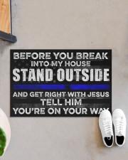 "Blue Jesus Before You Break Into My House 19 Doormat 22.5"" x 15""  aos-doormat-22-5x15-lifestyle-front-07"