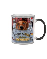Just A Girl Who Loves Dachshund Leather  Color Changing Mug tile