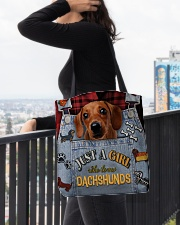 Just A Girl Who Loves Dachshund Leather  All-over Tote aos-all-over-tote-lifestyle-front-05