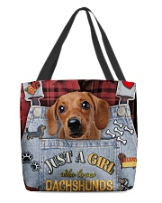 Just A Girl Who Loves Dachshund Leather  All-over Tote front