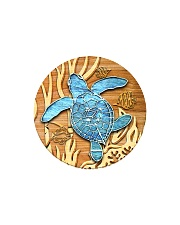 Sea Turtle - Blue Circle Ornament Circle Magnet thumbnail