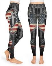 Jesus Cross American Flag High Waist Leggings front