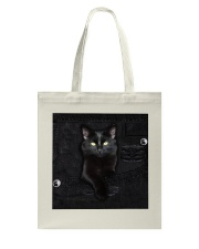 Black Cat Denim Tote Bag thumbnail