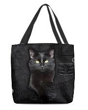 Black Cat Denim All-over Tote front