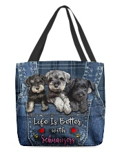 Schnauzer Life Is Bettee All-over Tote front