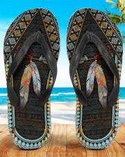 Native American Feather Pattern Flip Flops Women's Flip Flops aos-women-flip-flops-lifestyle-front-01