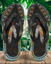 Native American Feather Pattern Flip Flops Women's Flip Flops aos-women-flip-flops-lifestyle-front-01a