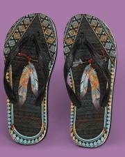 Native American Feather Pattern Flip Flops Women's Flip Flops aos-women-flip-flops-lifestyle-front-05
