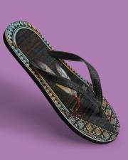 Native American Feather Pattern Flip Flops Women's Flip Flops aos-women-flip-flops-lifestyle-front-06