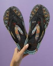 Native American Feather Pattern Flip Flops Women's Flip Flops aos-women-flip-flops-lifestyle-front-08