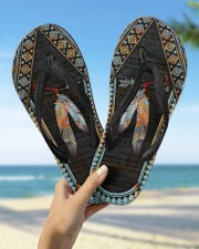 Native American Feather Pattern Flip Flops Women's Flip Flops aos-women-flip-flops-lifestyle-front-09