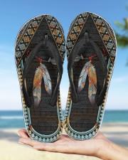 Native American Feather Pattern Flip Flops Women's Flip Flops aos-women-flip-flops-lifestyle-front-10