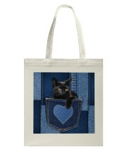 Black Cat Jean Pocket Tote Bag thumbnail
