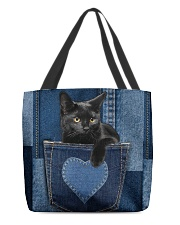 Black Cat Jean Pocket All-over Tote back