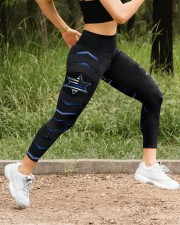 Police Blue Star Pattern Legging High Waist Leggings aos-high-waist-leggings-lifestyle-14