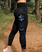 Police Blue Star Pattern Legging High Waist Leggings aos-high-waist-leggings-lifestyle-21