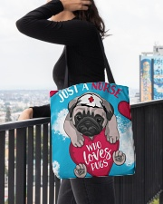 Dog - Just a Nurse Who Loves Pug All-over Tote aos-all-over-tote-lifestyle-front-05