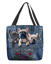 French Bulldogs Life Is Better All-over Tote back